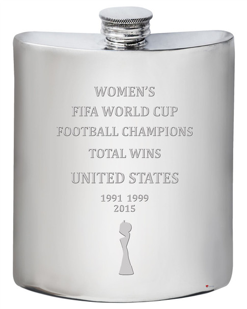 United States Fifa Women's World Cup Champions Total Wins 6oz Hip Flask