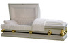 Economy White And Gold Casket - Metal Casket