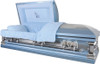 'Praying Hands' Casket Monarch Blue with Blue Velvet Interior - Metal Casket