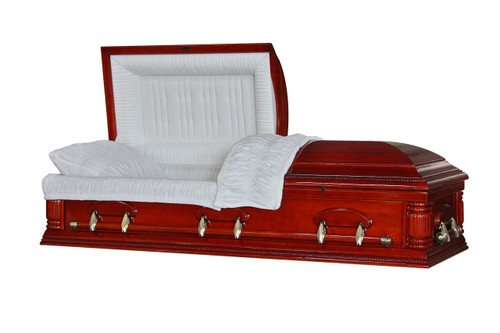 Cherry Matinée Veneer Casket with Cream Velvet Interior - Wood Casket