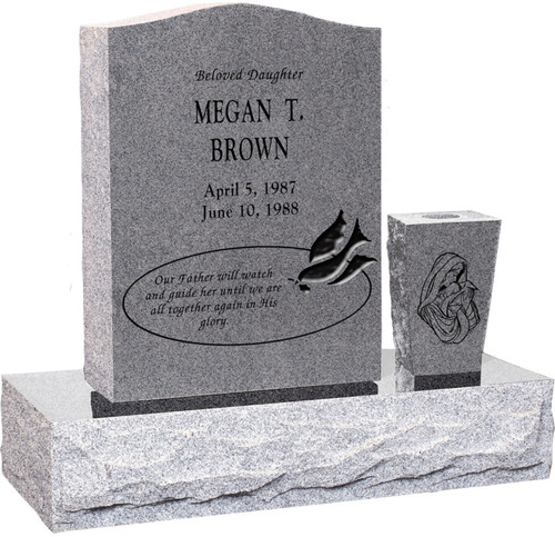 Upright Headstone Monument with Vase - Polished Top, Front, and Back - 10 Color Choices - Starting at $1619