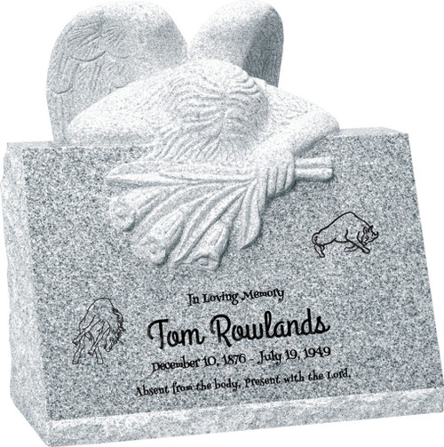 Carved Angel Slant Headstone - Polished Front - 10 Color Choices - Starting at $2464