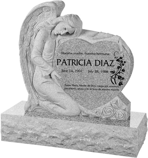 """Angel with Heart Headstone with 40"""" Base - Polished All Sides - 10 Color Choices - Starting at $2969"""