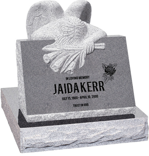 """Carved Angel Slant Headstone with 28"""" Base - Polished Front - 10 Color Choices - $3464"""