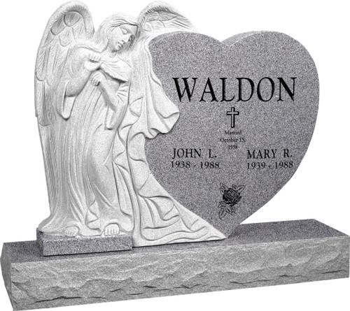 """Leaning Angel Heart Head Stone with 48"""" Base - Polished All Sides - 10 Color Choices - $3849"""