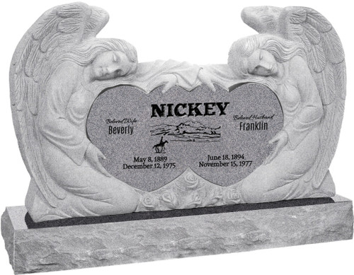 "Double Angels and Heart Headstone with 60"" Base - 10 Color Choices - Starting at $5299"