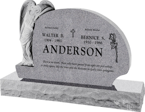 """Resting Angel Headstone with 66"""" Base - 10 Color Choices - Starting at $5309"""