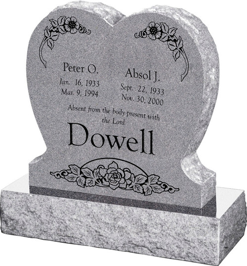 """Single Heart Headstone with 30"""" Base - Polished Front and Back - 10 Color Choices - Starting at $1434"""