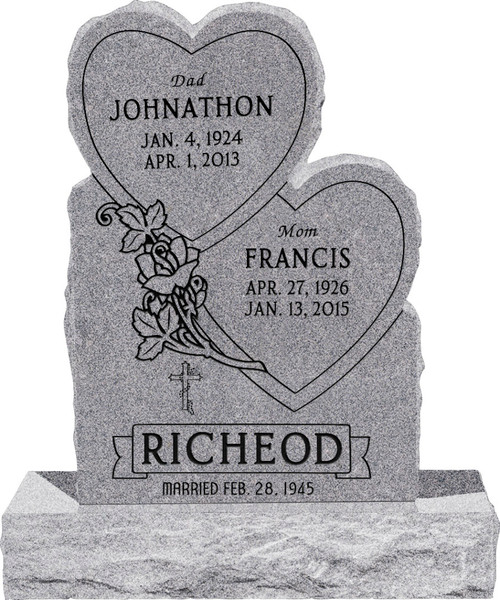 """Double Heart Headstone with 34"""" Base - Polished Front and Back - 10 Color Choices - Starting at $1919"""