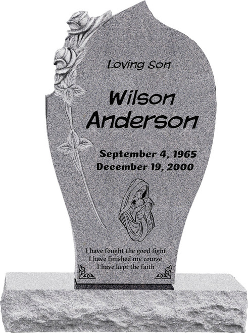 """Carved Rose Headstone with 34"""" Base - Polished All Sides - 10 Color Choices - Starting at $2299"""