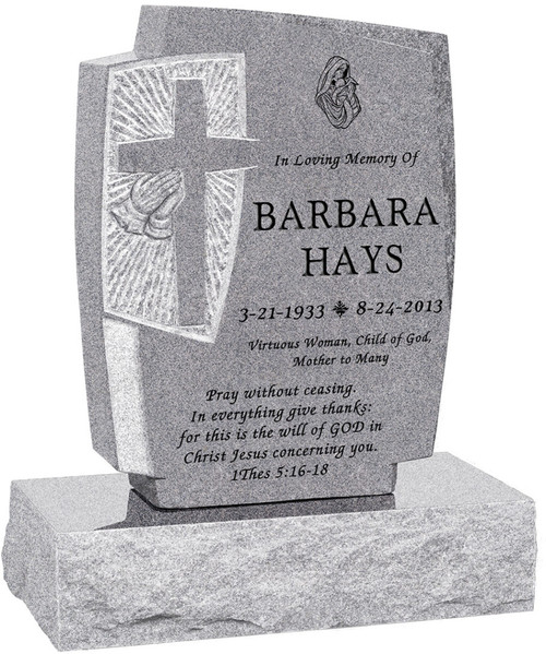 """Carved Cross and Praying Hands Headstone with 24"""" Base - Polished All Sides - 10 Color Choices - Starting at $1634"""