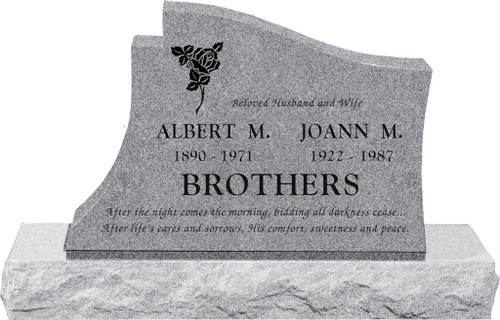 """Upright Headstone with 48"""" Base - 10 Colors"""