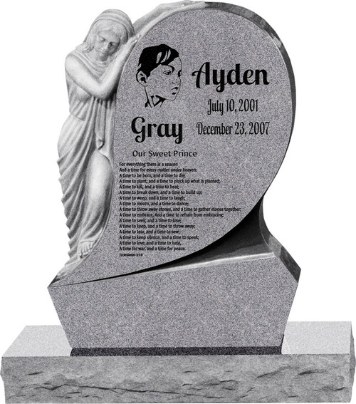 "St. Mary Uright Headstone with 34"" Base"