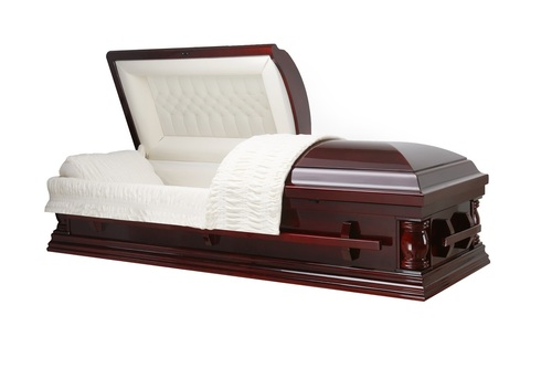 Hamilton Cherry Solid Poplar Wood with Cream Velvet Interior - Wood Casket