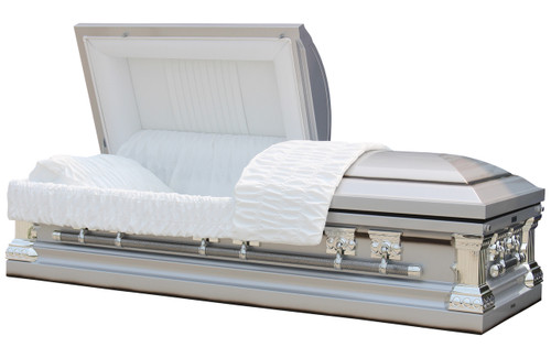 Knight Silver Casket with White Velvet Interior- Metal Casket