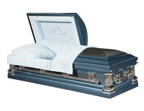 Going Home Monarch Blue Casket with Blue Velvet Interior- Metal Casket