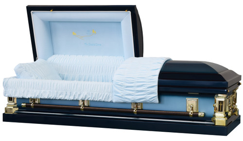 In God's Care Spruce Blue Casket with Blue Velvet Interior- Metal Casket