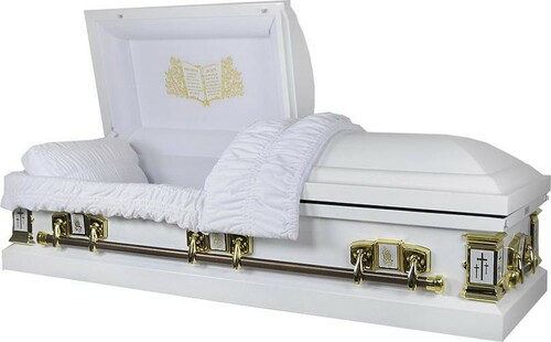 'White Cross' Lords Prayer Casket with White Velvet Interior - Metal Casket