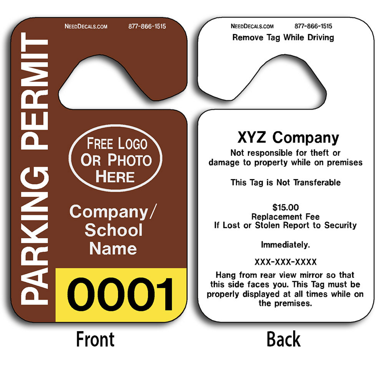 Parking Permit Template Download Free Numbering Back Printing