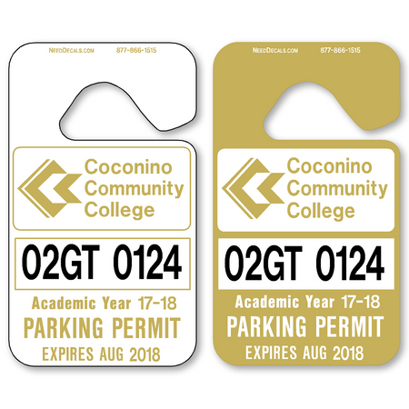Parking Permit Tags allow endless design possibilities and project a professional image. Available in over 30 Stock Ink Colors or unlimited custom colors. These durable Parking Hang Tags are printed on heavy duty .035 inch material to give you the strongest parking permit available. Order today and get Free Setup, Free Numbering and Free Logo.
