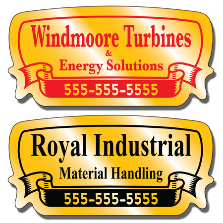 Our Call For Service Stickers are extremely durable and are available in three finishes: Chrome, Gold, and Brushed Aluminum.