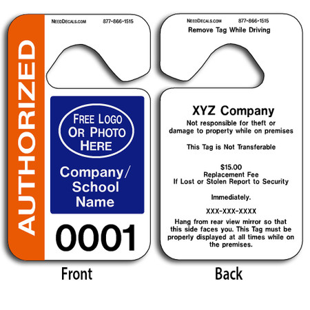 4-Color Process Car Hanger Tags allow endless design possibilities and project a professional image. These durable Car Hanger Tags are UV laminated front and back to give you the strongest parking permit available. Order today and get Free Numbering and Free Back Printing.