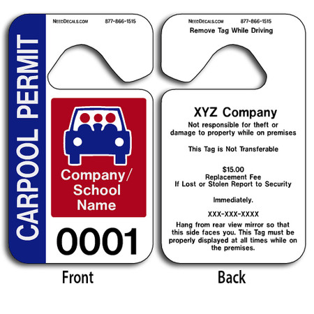 These durable Color Parking Permits are UV laminated front and back to give you the strongest parking permit available. Order today and get Free Numbering and Free Back Printing. These Hang Tags measure are 2 3/4 x 4 3/4 inches.