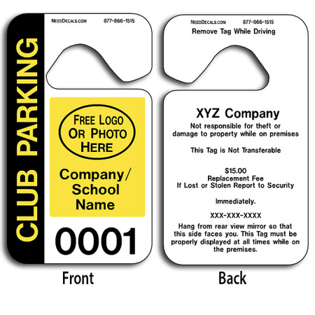 These durable Custom Car Rider And Parent Pick Up Tags are UV laminated front and back to give you the strongest parking permit available. Order today and get Free Numbering and Free Back Printing. These Hang Tags measure are 2 3/4 x 4 3/4 inches.