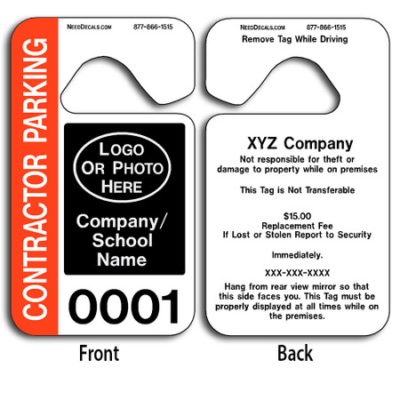These durable Custom Contractor Parking Hang Tags are UV laminated front and back to give you the strongest parking permit available. Order today and get Free Numbering and Free Back Printing. These Hang Tags measure are 2 3/4 x 4 3/4 inches.