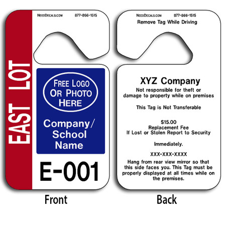 Full Color Custom Parking Hang Tags allow endless design possibilities and project a professional image. These durable Custom Parking Hang Tags are UV laminated front and back to give you the strongest parking permit available