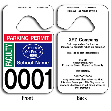 Full Color Custom Faculty Parking Permit Hang Tag Permits allow endless design possibilities and project a professional image. Free Numbering, Free Logo and Free Back Printing.