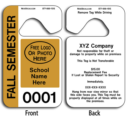 These durable Hanging Parking Permits are UV laminated front and back to give you the strongest parking permit available. Order today and get Free Numbering and Free Back Printing.