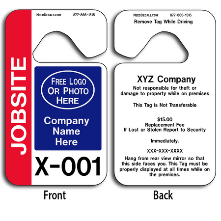 Custom Job Site Parking Permit Hang Tags allow endless design possibilities and project a professional image. These durable Custom Job Site Parking Permit Hang Tags are UV laminated front and back to give you the strongest parking permit available. Order today and get Free Numbering and Free Back Printing.