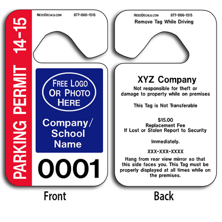These durable Parking Permit Hangers are UV laminated front and back to give you the strongest parking permit available.