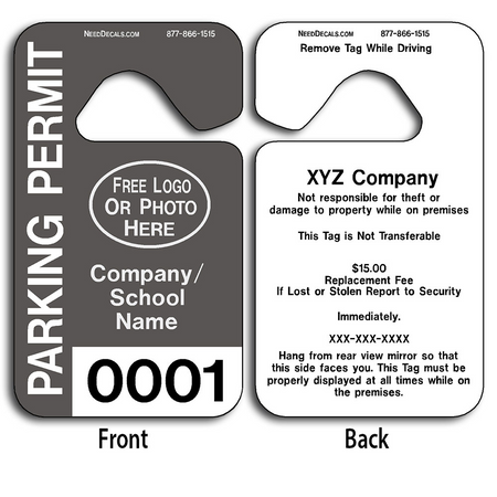 These durable Parking Tags are UV laminated front and back to give you the strongest parking permit available. Order today and get Free Numbering and Free Back Printing.
