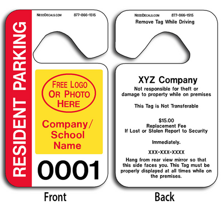 Custom Resident Parking Permit Hang Tags allow endless design possibilities and project a professional image.