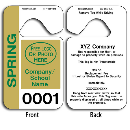 Hang Tags Parking allow endless design possibilities and project a professional image. These durable Hang Tags Parking are UV laminated front and back to give you the strongest parking permit available. Order today and get Free Numbering and Free Back Printing.