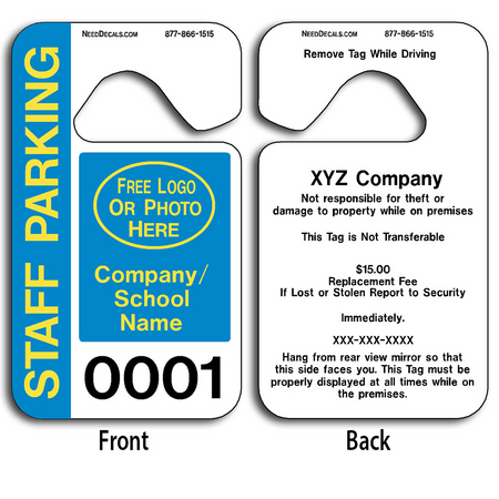 Custom Staff Parking Hang Tags