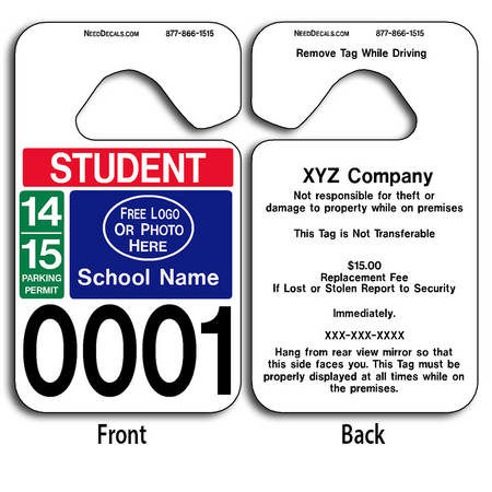 These durable School Parking Permits are UV laminated front and back to give you the strongest parking permit available. Order today and get Free Numbering and Free Back Printing.