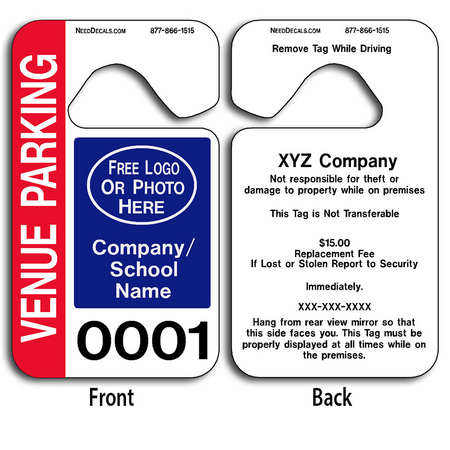 These durable Hanging Parking Permit Templates are UV laminated front and back to give you the strongest parking permit available. Order today and get Free Numbering and Free Back Printing. These Hang Tags measure are 2 3/4 x 4 3/4 inches.