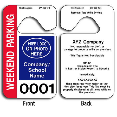 These durable Large Number Hang Tags are UV laminated front and back to give you the strongest parking permit available. Order today and get Free Numbering and Free Back Printing.