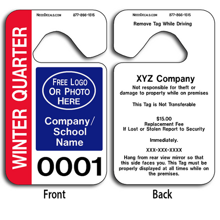 These durable School Parking Hang Tags are UV laminated front and back to give you the strongest parking permit available.