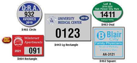 Take charge of your parking problems with these high quality bumper style reflective parking permits. Five popular shapes for your vehicles, golf carts, boats or outdoor equipment.