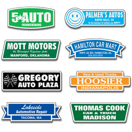Reflective Car Dealer Name Decals are available in 12 shapes.