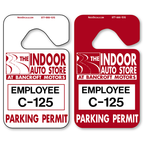 Parking Hang Tag Parking Permits allow endless design possibilities and project a professional image. Available in over 30 Stock Ink Colors or unlimited custom colors. These durable Parking Hang Tag Parking Permits are printed on heavy duty .035 inch material to give you the strongest parking permit available. Order today and get Free Setup, Free Numbering and Free Logo