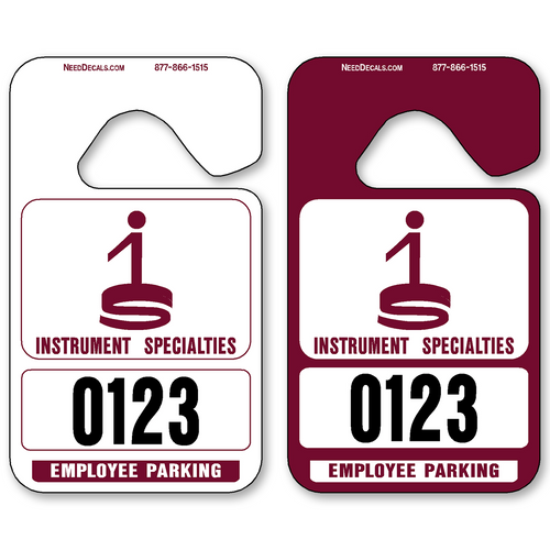 Maroon Hanging Parking Permits - Standard