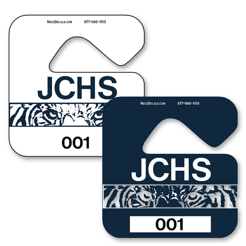 Custom Parking Hangers allow endless design possibilities and project a professional image. Available in over 30 Stock Ink Colors or unlimited custom colors. These durable Parking Hang Tags are printed on heavy duty .035 inch material to give you the strongest parking permit available. Order today and get Free Setup, Free Numbering and Free Logo.