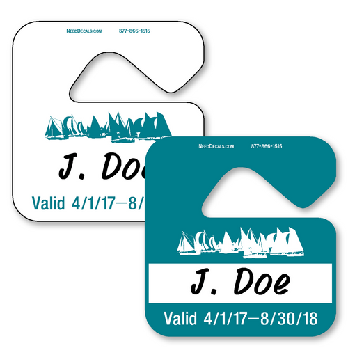 Automotive Rear View Mirror Hang Tags allow endless design possibilities and project a professional image. Available in over 30 Stock Ink Colors or unlimited custom colors. These durable Parking Hang Tags are printed on heavy duty .035 inch material to give you the strongest parking permit available. Order today and get Free Setup, Free Numbering and Free Logo.
