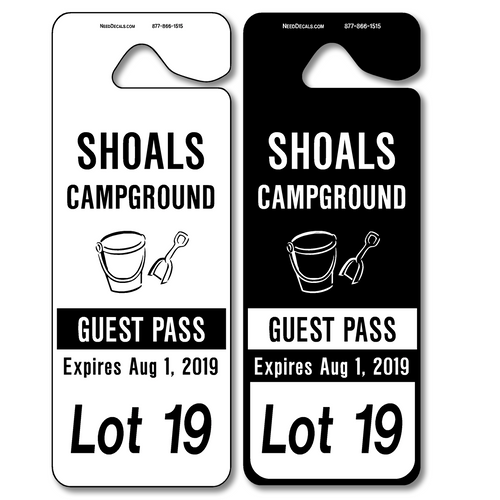 Giant Hanging Parking Permits allow endless design possibilities and project a professional image. Available in over 30 Stock Ink Colors or unlimited custom colors. These durable Parking Hang Tags are printed on heavy duty .035 inch material to give you the strongest parking permit available. Order today and get Free Setup, Free Numbering and Free Logo.