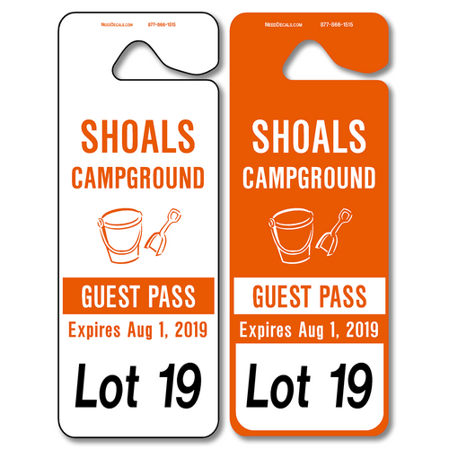 Giant Car Rider Tags allow endless design possibilities and project a professional image. Available in over 30 Stock Ink Colors or unlimited custom colors. These durable Parking Hang Tags are printed on heavy duty .035 inch material to give you the strongest parking permit available. Order today and get Free Setup, Free Numbering and Free Logo.